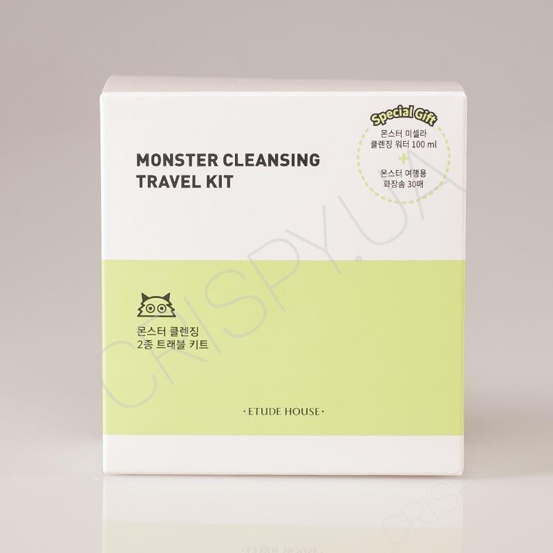 Набор миниатюры мицеллярной воды+очищающие салфетки Etude House Monster Cleansing Travel Kit - 100 мл + 30 шт.