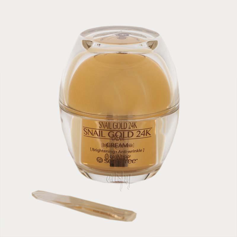 Омолаживающий крем для лица с золотом и улиточным фильтратом SeaNtree SNAIL GOLD 24K CREAM - 50 г - Фото №2