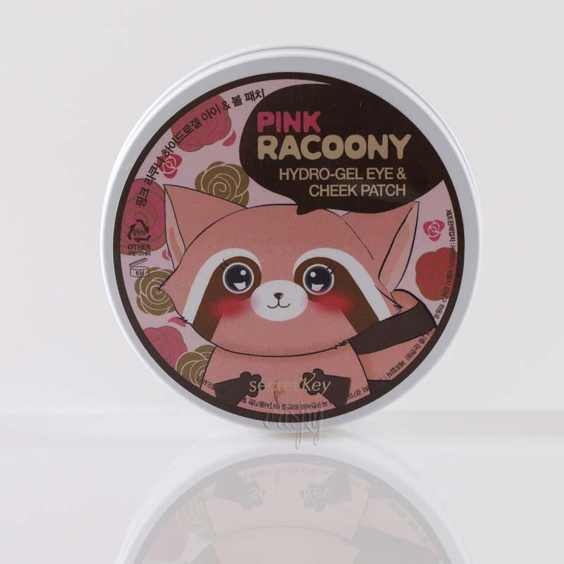 Патчи для глаз с розовой водой и золотом Secret Key Pink Racoony Hydro Gel Eye & Cheek Patch 60 шт. - Фото №2