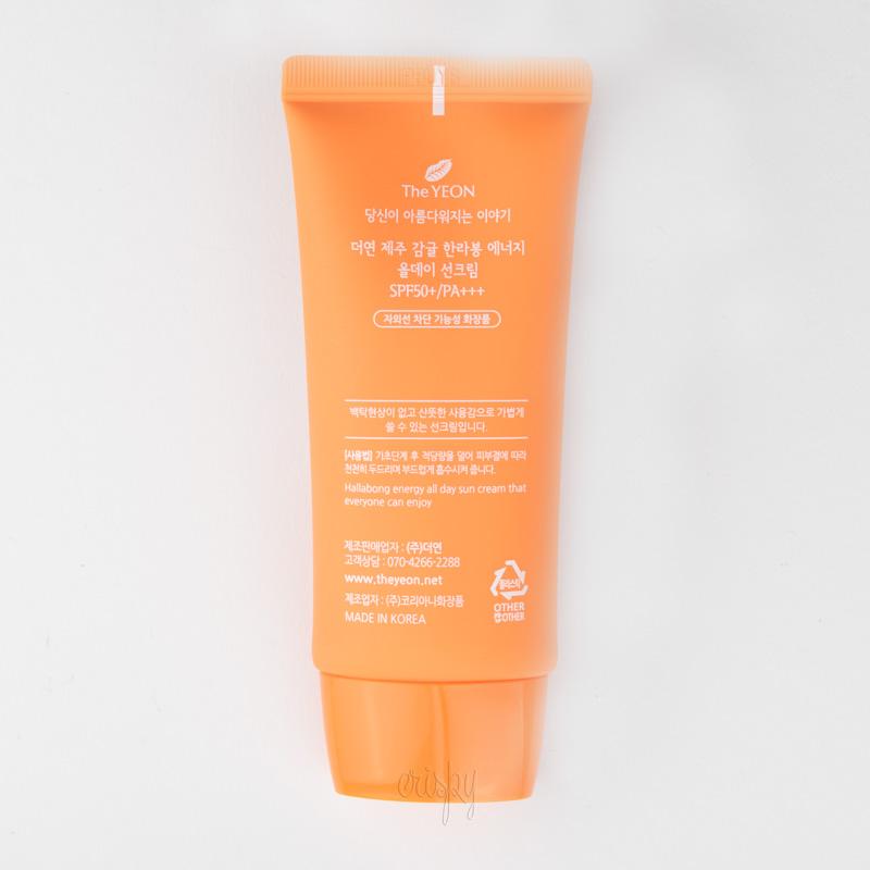 Солнцезащитный крем The Yeon Jeju Hallabong Energy All day Sun Cream SPF 50+/PA+++ 50 мл